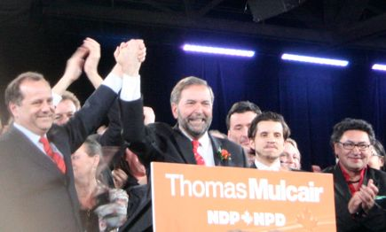 NDP Leader Thomas Mulcair at the podium