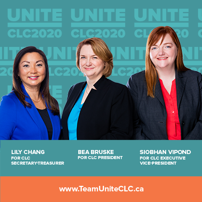 Lily Chang, Bea Bruske, Siobhan Vipond, candidates for CLC leadership
