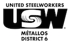 USW District 6 bilingual logo - black and white