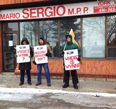 Beer Can Workers Picket Indifferent Liberal MPPs' Offices